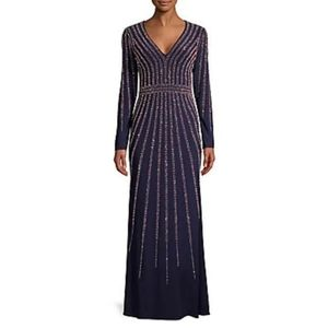 XSCAPE Petite Vertical-Embellished Evening Gown